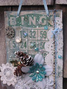 Altered Bingo Card - Snow by swapphotojan, Christmas Bingo Cards, Christmas Cards To Make, Diy Christmas Ornaments, Christmas Tag, All Things Christmas, Vintage Christmas, Christmas Decorations, Celebrating Christmas, Christmas 2019