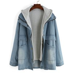 Blue Hooded Bleached Denim Two Pieces Coat ($30) ❤ liked on Polyvore featuring outerwear, coats, jackets, casacos, blue, short coat, long sleeve coat, color block coat, colorblock coat and single breasted coat