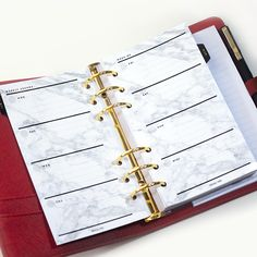 Weekly Planner Inserts, Personal Size - Marble, Week on 2 Pages WO2P