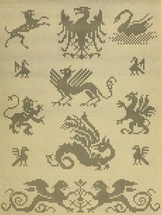 """From """"Album de Broderies au Point du Croix"""", a cross stitch pattern book in the public domain. Download this lovely book in pdf, kindle or epub format here: https://archive.org/stream/albumdebroderies003dill"""