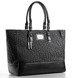 86b6e11a13 Calvin Klein Womens Logo Jacquard Fabric Shopper Tote Shoulder Bag Handbag  (Black) from The Fashions Place