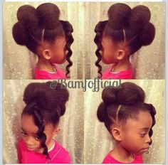 Little girl hairstyles / updo / natural hair / pretty hairstyles / girls hair / protective hairdo /