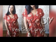 Vestido Longo com Fendas DIY - YouTube Diy Vestido Longo, Couture, Refashion, Ideias Fashion, Cover Up, Pasta, Dresses, Dress Making, Summer Outfit