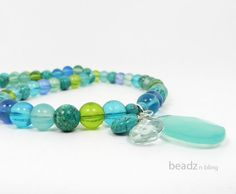 Turquoise Necklace Multicolor Aqua Blue Green by BeadzNBling