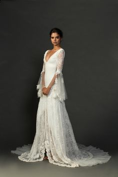 The completely inimitable Francis dress. Oozing bohemian luxury, this stunning wedding dress exudes incredible natural beauty and a sparkle of magic. We LOVE it! xx Grace Loves Lace Untamed Romance collection. www.graceloveslace.com.au #weddingdress #bohemianwedding #laceweddingdress #lace