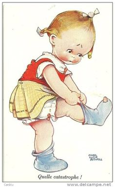 Mabel Lucie Attwell vintage postcard quelle catastraphe hole in toe in sock art girl Vintage Children's Books, Vintage Cards, Vintage Postcards, Vintage Pictures, Vintage Images, Cute Pictures, Etiquette Vintage, Children's Book Illustration, Drawing For Kids