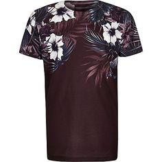 Boys purple floral shoulder print T-shirt £10.00