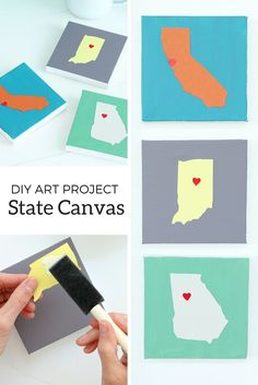 Turn your favorite states into canvas art with this DIY project by @aliceandlois. Show your state pride and your crafty side.