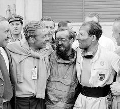 On equal terms: Rudolf Uhlenhaut at the Mille Miglia in 1955 with the victors, Denis Jenkinson and Stirling Moss (right).
