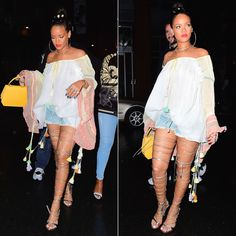 Rihanna partied in New York wearing Chloé's Spring 2016 tasseled blouse and denim drawstring shorts and a pair of Dsquared's Riri sandals.