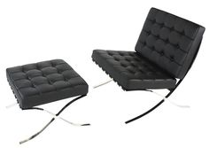 Barcelona Black Leather Chair and Footstool