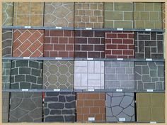 A popular method for adding a decorative finish to newly placed concrete is by using stencils. Stencils are patterns of brick, stone, tile or other finishes that use grout lines to create a pattern… Stamped Concrete Patterns, Stencil Concrete, Concrete Design, Stained Concrete, Concrete Patio, Concrete Countertops, Concrete Floors, Paint Concrete, Concrete Finishes