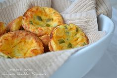 Jalapeno Cheddar Popovers  3 large eggs  1 cup all-purpose flour  1 cup whole milk  1 cup shredded mild cheddar cheese  1/4 cup jalapeno, diced   1/2 teaspoon salt    Preheat oven to 400. Spray 12 cup muffin tin with cooking spray.    Combine all ingredients in a medium bowl and and stir until blended.  Pour batter in to muffin tin filling 2/3 full.  Bake for 20-25 minutes until tops are risen and firm and golden brown.     Remove popovers from tin and cool on wire rack.