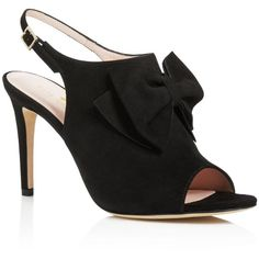 kate spade new york Ilyse Bow Open Toe Slingback Sandals ($350) ❤ liked on Polyvore featuring shoes, sandals, black, slingback sandals, black stiletto sandals, black slingback shoes, stiletto shoes and black sandals