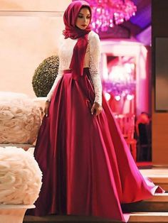 Buy Chicloth A-Line Long Sleeves Scoop Sweep/Brush Train Lace Satin Muslim Dresses, Prom Dresses Cheap,Homecoming Dresses Cheap Online. Discount Prom Dresses, Prom Dresses 2018, Prom Outfits, Quinceanera Dresses, Modest Dresses, Dresses 2016, Party Dresses, Muslim Prom Dress, Hijab Prom Dress