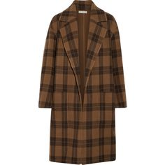 Vince Checked wool-blend coat ($795) ❤ liked on Polyvore featuring outerwear, coats, brown, open front coat, checkered coat, oversized coat, checked coat and wool blend coat