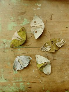 Fabric moths  set of 5 / recycled / brooch / textile by willowynn, $225.00
