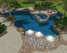Inspiring Lazy River Pool Design Ideas 10 This is the year that you're finally going to jump in and construct a swimming pool in your backyard. Backyard Pool Designs, Swimming Pool Designs, Pool Landscaping, Pool Backyard, Lazy River Pool, Walk In Pool, Backyard Lazy River, Tropical Pool, Tropical Design