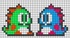 Alpha friendship bracelet pattern added by cute dinos bffs adorable. Perler Bead Designs, Perler Bead Templates, Perler Patterns, Tiny Cross Stitch, Beaded Cross Stitch, Cross Stitch Patterns, Bubble Bobble, Bobble Crochet, Pixel Crochet