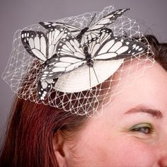 Ivory Butterfly Veiled Small Fascinator by ImogensImagination