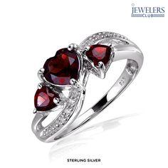 1.5ctw Genuine Garnet & Diamond Accent Heart Ring in Sterling Silver - Assorted Finishes
