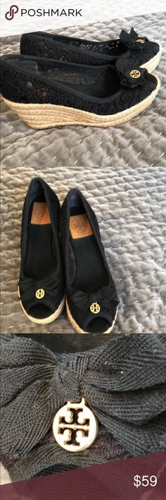 "Tory Burch Navy Wedges 7.0 Beautiful navy blue Tory Burch Wedges. 3 1/2""  rattan heal with 1 1/4 platform in front. Worn twice at most. A little lint on shoes but in excellent condition. See pictures.  No box. Tory Burch Shoes Wedges"