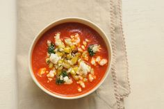 Roasted Red Pepper Soup with Corn and Cilantro recipe on Food52