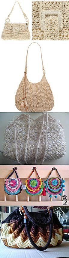 Crotchet Bags, Crochet Tote, Crochet Handbags, Crochet Purses, Knitted Bags, Filet Crochet, Crochet Stitches, Knit Crochet, Sweet Bags