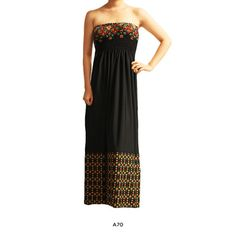 Strapless Patterned Summer Maxi Dress - Assorted Styles $19.00
