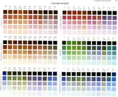 "Color charts from Richard Schmid's ""Alla Prima"""