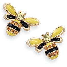 Natures Jewelry Enameled Goldplate And Crystal Bee Post Earrings (29 CAD) ❤ liked on Polyvore featuring jewelry, earrings, accessories, enamel earrings, crystal stone jewelry, post earrings, bumble bee earrings and gold plated jewellery