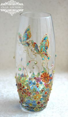 "Vase ""Flying Butterfly"". Stained glass painting. by RomanticArtGlass on Etsy https://www.etsy.com/uk/listing/265259818/vase-flying-butterfly-stained-glass"