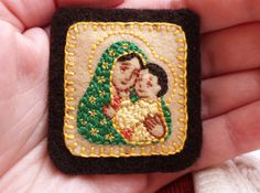 Embroidered Brown Scapular Our Lady of by StellaMarigoldArt, $95.00