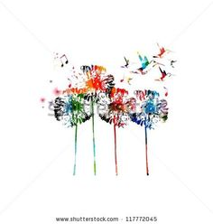 Abstract colorful dandelion background by abstract, via ShutterStock
