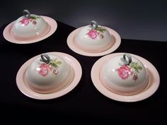 TWO sets of TWO Available!  Homer Laughlin Moss Rose Covered Muffin / Pancake Servers!  Purchase all four sets in this shop by visiting both listings.