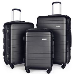 Luggage Set Spinner Trolley Suitcase Hard Shell Carry On 20″ 24″ 28″ (Black)