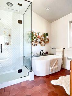 Antique Hexagon Bathroom Floor Tile | Fireclay Tile Hexagon Tile Bathroom Floor, Bathroom Flooring, Art Deco Bathroom, Fireclay Tile, Herringbone Backsplash, Style Tile, Jpg, White Bathroom, Design