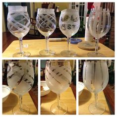 DIY Frosted Wine Glasses ... Plain glasses (you can pick up at michaels, hobby lobby, Joann's, etc) ... Decorate each with plain tape (the kind in the green pack is the easiest to peel back off), & paint with etching paste. Follow directions on paste box, then peel off the tape once you're done! Easy as that! #classytrashcreations