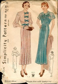 Pretty Vintage 1930s Simplicity 1761 Raglan or Drop Sleeve Frock, Day or Afternoon Dress Sewing Pattern B34