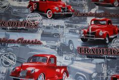 Auto Vintage Pickup Trucks Dodge Ford Chevy LM40 Great Print Cotton Fabric Quilt Fabric