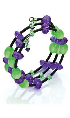Memory Wire Bracelet with Acrylic Beads and Swarovski® Crystal Beads
