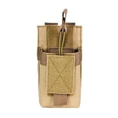 M1SURPLUS MOLLE Compatible Tan Radio Pouch Fits Icom IC-V8 IC-91A Yaesu FT250R FT270R VX-170 FT-60R Wouxon Baofeng UV5R UV5RA FRS GMRS HAM Radios -- Check out this great product.