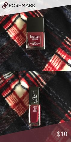 Nail Polish Butter London in the shade Ruby Murray. Received in a Boxy Charm, but didn't want it. Never been used or even opened, as depicted by the sticker seal. Price is firm. No trades. For sale at other places. Butter London Makeup