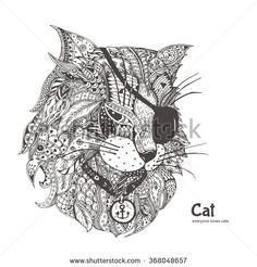 Cat-pirate. Hand-drawn cat with ethnic floral doodle pattern. Coloring page - zendala, design for spiritual relaxation for adults, vector illustration, isolated on a white background. Zen doodles.