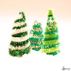 Pipe cleaner Christmas trees.