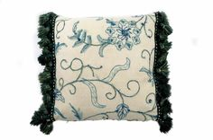ウールのネイティブ刺繍にグリーンフリンジが秀逸なヴィンテージクッション #cushion #cushioncover #クッション #クッションカバー #ヴィンテージ #アンティーク #vintage