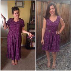 purple floral dress refashion