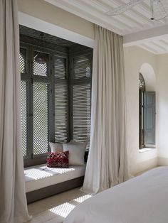 bedroom with window seat. Is there a way for the shades to provide insu. bedroom with window seat. Is there a way for the shades to provide insu. The Prettiest Hotel in Morocco Home Decor Bedroom, Moroccan Bedroom, Interior Design, House Interior, Home, Cheap Home Decor, Interior, Tiny Bedroom, Home Decor