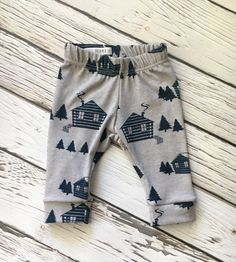 Leggings Cabin in the Woods in Gray and by LittleDreamerApparel