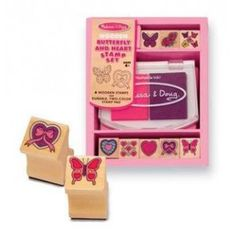 When your little artist is in the mood for lovely designs, here is the ideal stamp set. Kids who love arts and crafts will be inspired by the beautifully detailed butterfly and heart stamps nestled into a sturdy wooden box. Included is a 2-color stamp pad in pink and purple.  Extension Activities: More Ways to Play and Learn: •Ask the child to identify the image on each stamp. •Ask the child to place the stamps in a row, counting them as he/she lines them up